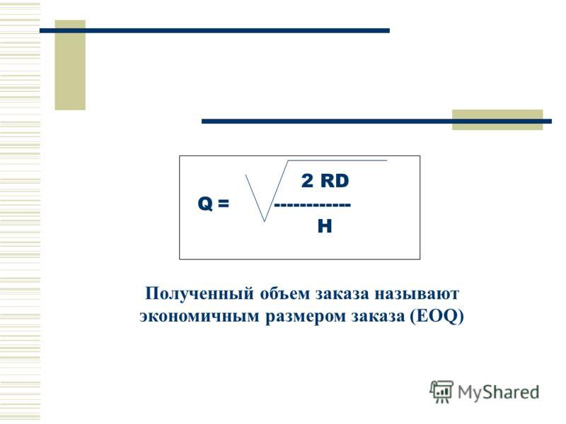 2 RD Q = ------------ H Полученный объем заказа называют экономичным размером заказа (EOQ)