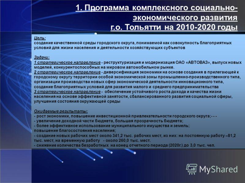 1. Программа комплексного социально- экономического развития г.о. Тольятти на 2010-2020 годы Цель: создание качественной среды городского округа, понимаемой как совокупность благоприятных условий для жизни населения и деятельности хозяйствующих субъе
