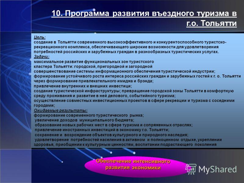 10. Программа развития въездного туризма в г.о. Тольятти Цель: создание в Тольятти современного высокоэффективного и конкурентоспособного туристско- рекреационного комплекса, обеспечивающего широкие возможности для удовлетворения потребностей российс