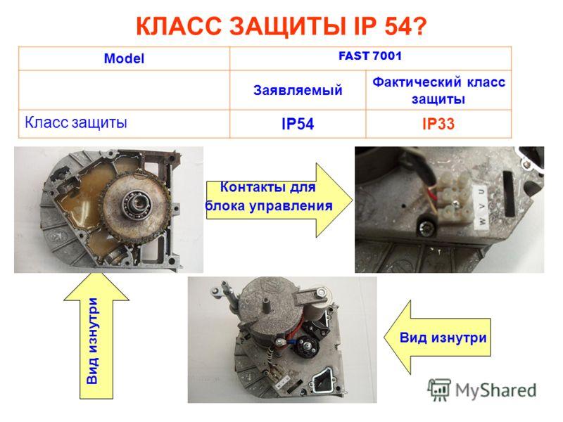 КЛАСС ЗАЩИТЫ IP 54? Model FAST 7001 Заявляемый Фактический класс защиты Класс защиты IP54IP33 Вид изнутри Контакты для блока управления Вид изнутри