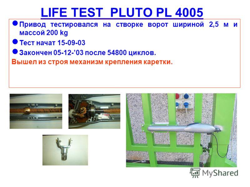 LIFE TEST PLUTO PL 4005 Привод тестировался на створке ворот шириной 2,5 м и массой 200 kg Тест начат 15-09-03 Закончен 05-12-03 после 54800 циклов. Вышел из строя механизм крепления каретки.