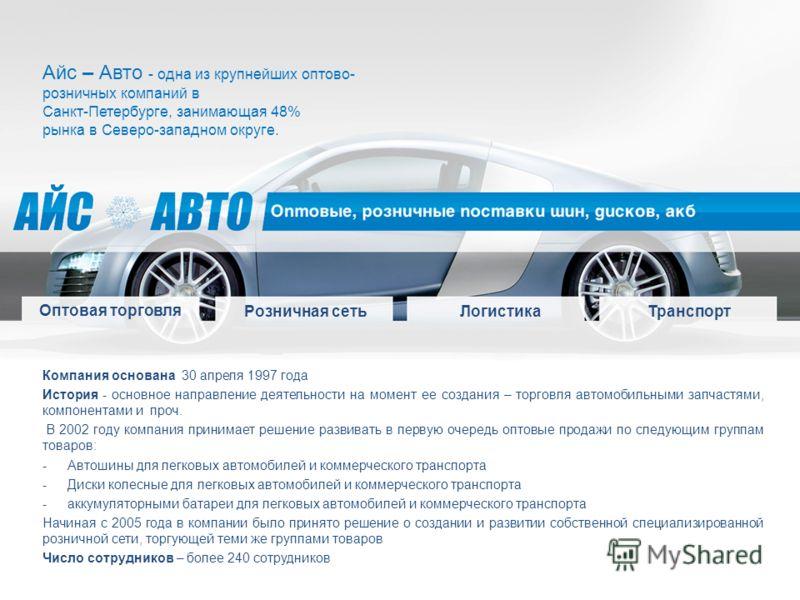 Айс – Авто - одна из крупнейших оптово- розничных компаний в Санкт-Петербурге, занимающая 48% рынка в Северо-западном округе. Компания основана 30 апреля 1997 года История - основное направление деятельности на момент ее создания – торговля автомобил