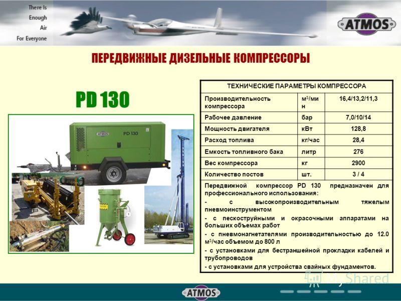 ПЕРЕДВИЖНЫЕ ДИЗЕЛЬНЫЕ КОМПРЕССОРЫ ТЕХНИЧЕСКИЕ ПАРАМЕТРЫ КОМПРЕССОРА Производительность компрессора м 3 /ми н 16,4/13,2/11,3 Рабочее давлениебар7,0/10/14 Мощность двигателякВт128,8 Расход топливакг/час28,4 Емкость топливного бакалитр276 Вес компрессор