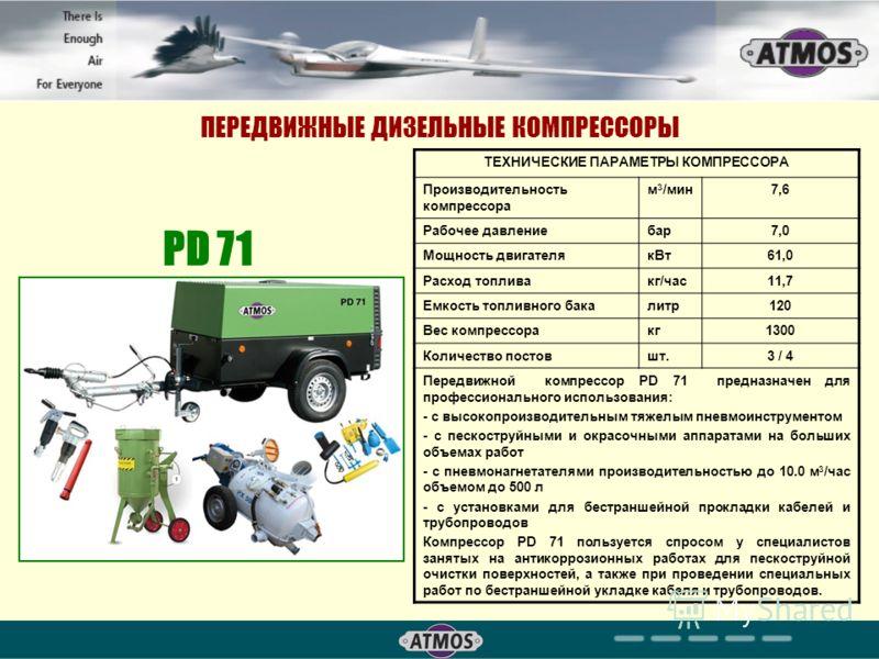 ПЕРЕДВИЖНЫЕ ДИЗЕЛЬНЫЕ КОМПРЕССОРЫ PD 71 ТЕХНИЧЕСКИЕ ПАРАМЕТРЫ КОМПРЕССОРА Производительность компрессора м 3 /мин7,6 Рабочее давлениебар7,0 Мощность двигателякВт61,0 Расход топливакг/час11,7 Емкость топливного бакалитр120 Вес компрессоракг1300 Количе