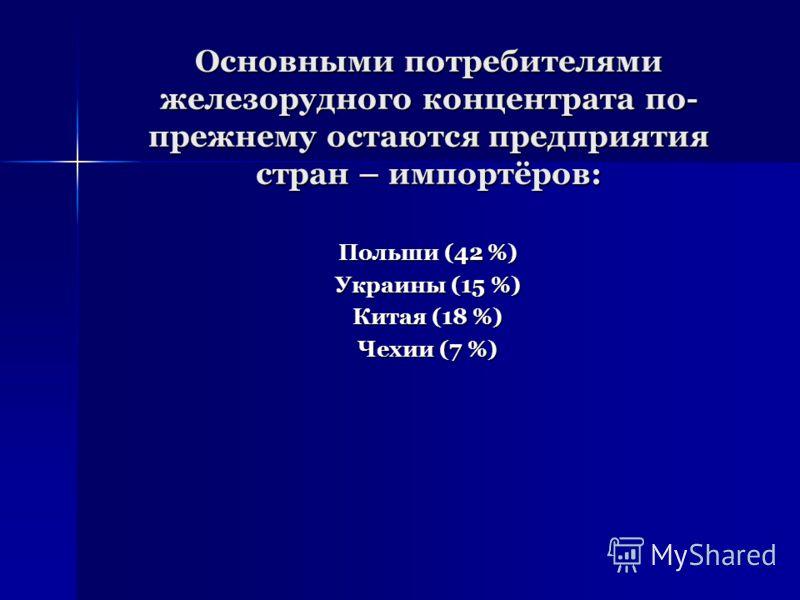Основными потребителями железорудного концентрата по- прежнему остаются предприятия стран – импортёров: Польши (42 %) Украины (15 %) Китая (18 %) Чехии (7 %)