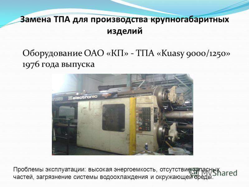 Замена ТПА для производства крупногабаритных изделий Оборудование ОАО «КП» - ТПА «Kuasy 9000/1250» 1976 года выпуска Проблемы эксплуатации: высокая энергоемкость, отсутствие запасных частей, загрязнение системы водоохлаждения и окружающей среды.