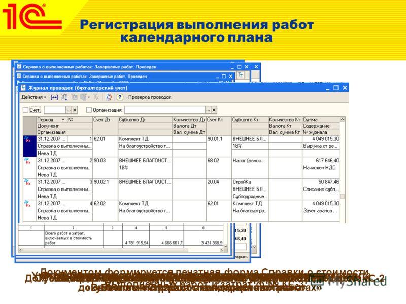 Регистрация выполнения работ календарного плана Учет выполненных работ осуществляется посредством документа «Выполнение работ календарного плана» Документ формирует печатную форму Акта о приемке работ ф. КС-2 Факт реализации строительно-монтажных раб