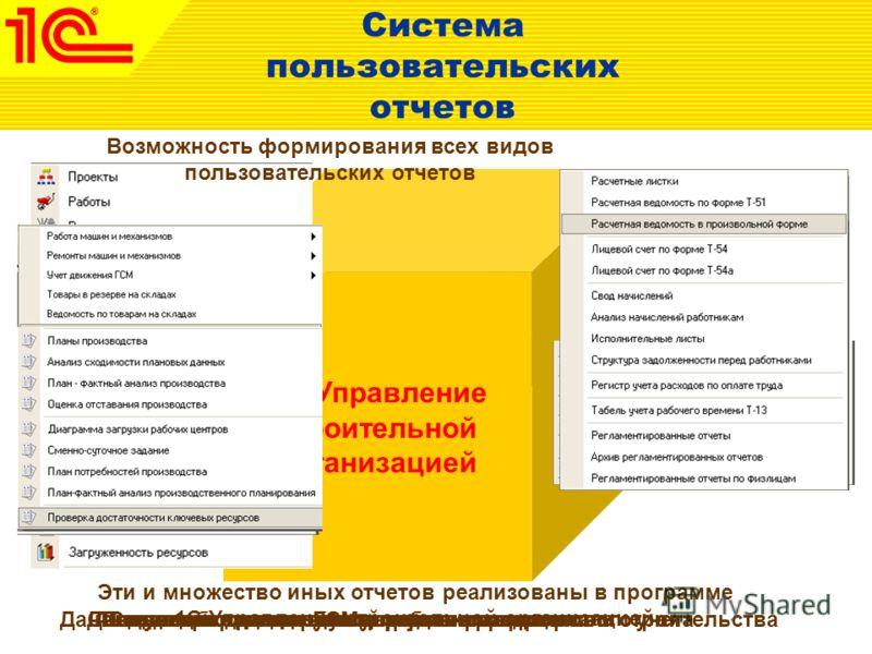 Отче т Система пользовательских отчетов 1С:Управление строительной организацией Получение данных бухгалтерского и налогового учетаСведения о движении денежных средствДанные, необходимые для управления процессом строительстваСведения о планируемой зан