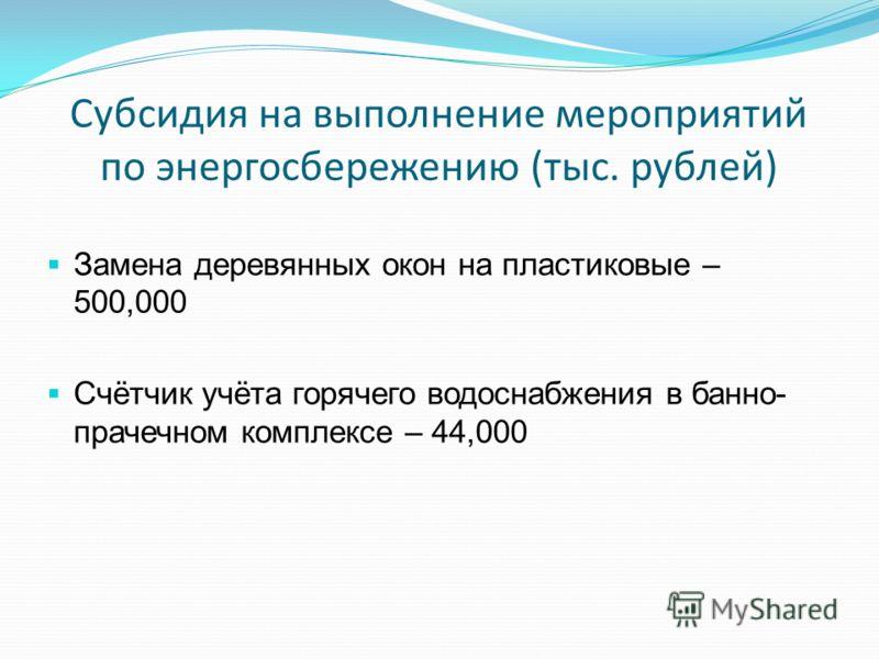 Субсидия на выполнение мероприятий по энергосбережению (тыс. рублей) Замена деревянных окон на пластиковые – 500,000 Счётчик учёта горячего водоснабжения в банно- прачечном комплексе – 44,000