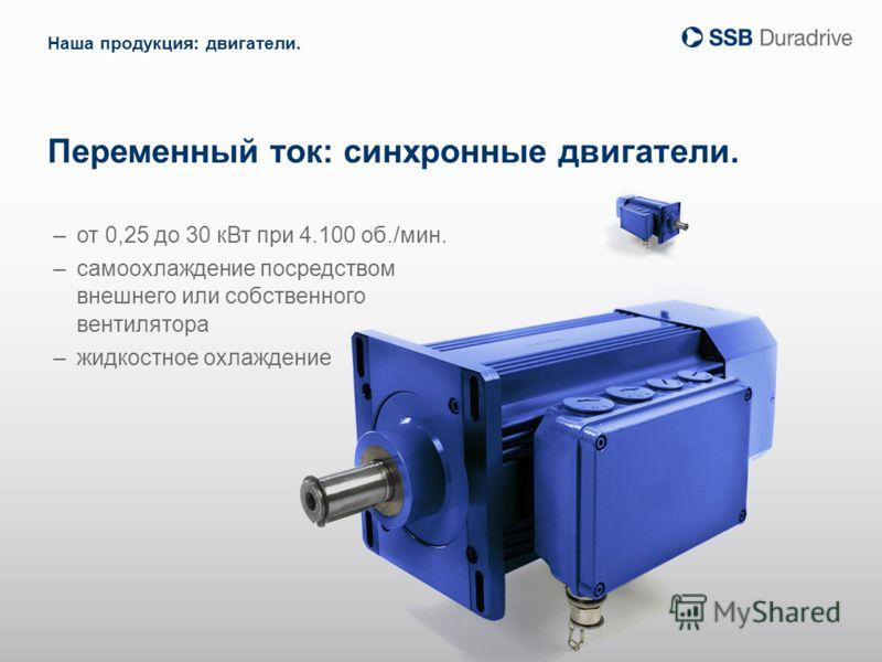 Переменный ток: синхронные двигатели. –от 0,25 до 30 кВт при 4.100 об./мин. –самоохлаждение посредством внешнего или собственного вентилятора –жидкостное охлаждение Наша продукция: двигатели.