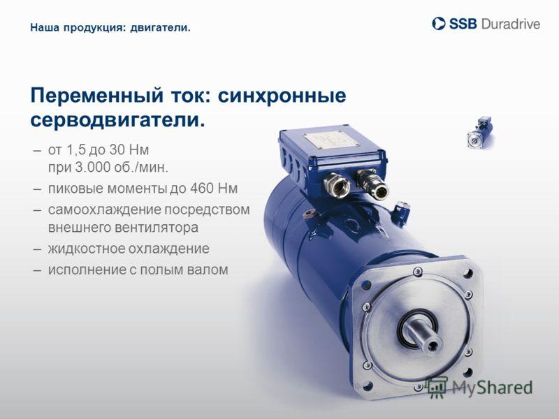 Переменный ток: синхронные серводвигатели. –от 1,5 до 30 Нм при 3.000 об./мин. –пиковые моменты до 460 Нм –самоохлаждение посредством внешнего вентилятора –жидкостное охлаждение –исполнение с полым валом Наша продукция: двигатели.