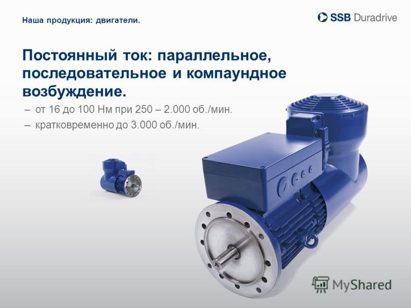 Постоянный ток: параллельное, последовательное и компаундное возбуждение. –от 16 до 100 Нм при 250 – 2.000 об./мин. –кратковременно до 3.000 об./мин. Наша продукция: двигатели.