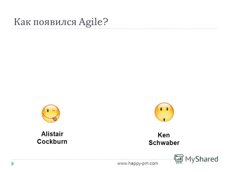 Как появился Agile? www.happy-pm.com Alistair Cockburn Ken Schwaber