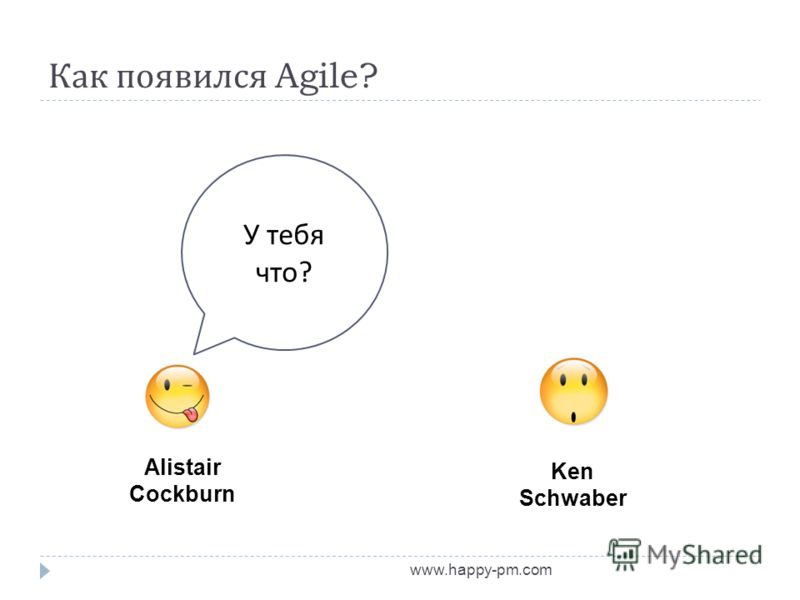 Как появился Agile? www.happy-pm.com Alistair Cockburn Ken Schwaber У тебя что ?
