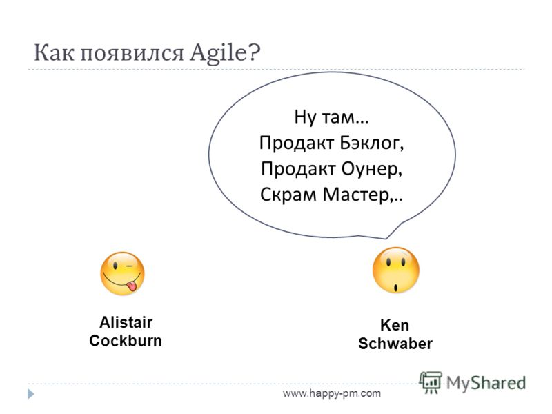 Как появился Agile? www.happy-pm.com Alistair Cockburn Ken Schwaber Ну там … Продакт Бэклог, Продакт Оунер, Скрам Мастер,..