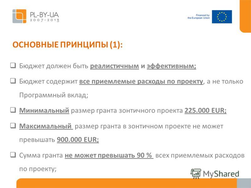 ОСНОВНЫЕ ПРИНЦИПЫ (1): Бюджет должен быть реалистичным и эффективным; Бюджет содержит все приемлемые расходы по проекту, а не только Программный вклад; Минимальный размер гранта зонтичного проекта 225.000 EUR; Максимальный размер гранта в зонтичном п