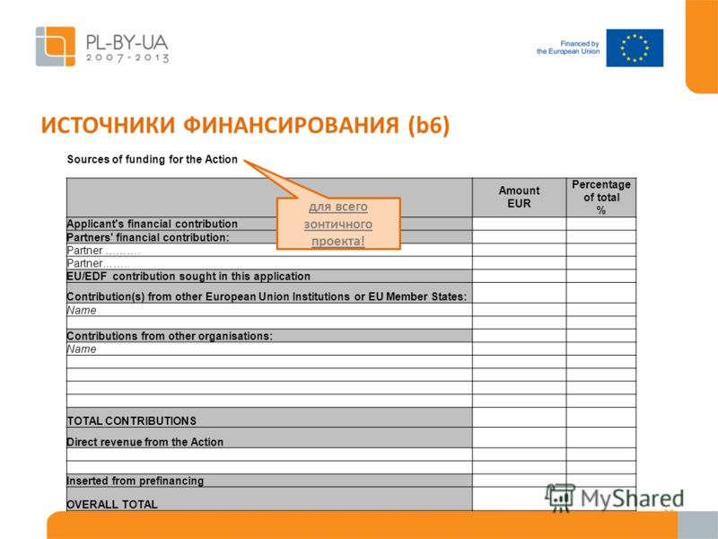 ИСТОЧНИКИ ФИНАНСИРОВАНИЯ (b6) 29 Sources of funding for the Action Amount EUR Percentage of total % Applicant's financial contribution Partners' financial contribution: Partner ………. Partner…….. EU/EDF contribution sought in this application Contribut