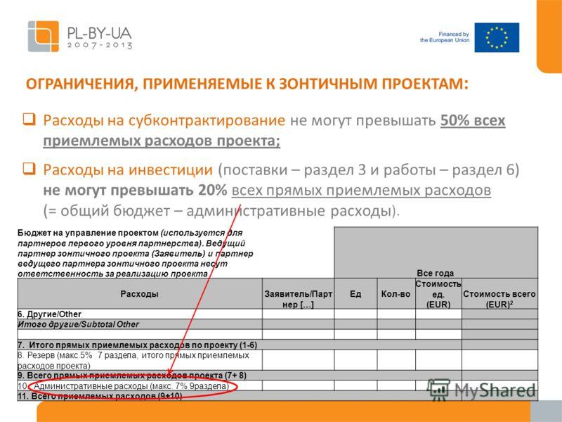 ОГРАНИЧЕНИЯ, ПРИМЕНЯЕМЫЕ К ЗОНТИЧНЫМ ПРОЕКТАМ : Расходы на субконтрактирование не могут превышать 50% всех приемлемых расходов проекта; Расходы на инвестиции (поставки – раздел 3 и работы – раздел 6) не могут превышать 20% всех прямых приемлемых расх
