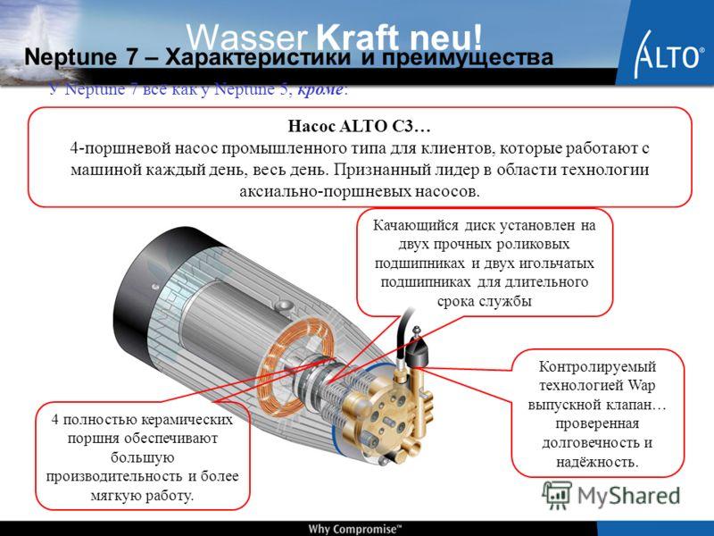 Wasser Kraft neu! Neptune 7 – Характеристики и преимущества У Neptune 7 всё как у Neptune 5, кроме: Насос ALTO C3… 4-поршневой насос промышленного типа для клиентов, которые работают с машиной каждый день, весь день. Признанный лидер в области технол
