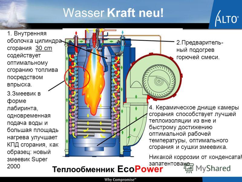 Wasser Kraft neu! 2.Предваритель- ный подогрев горючей смеси. 4. Керамическое днище камеры сгорания способствует лучшей теплоизоляции из вне и быстрому достижению оптимальной рабочей температуры, оптимального сгорания и сушки змеевика. Никакой корроз
