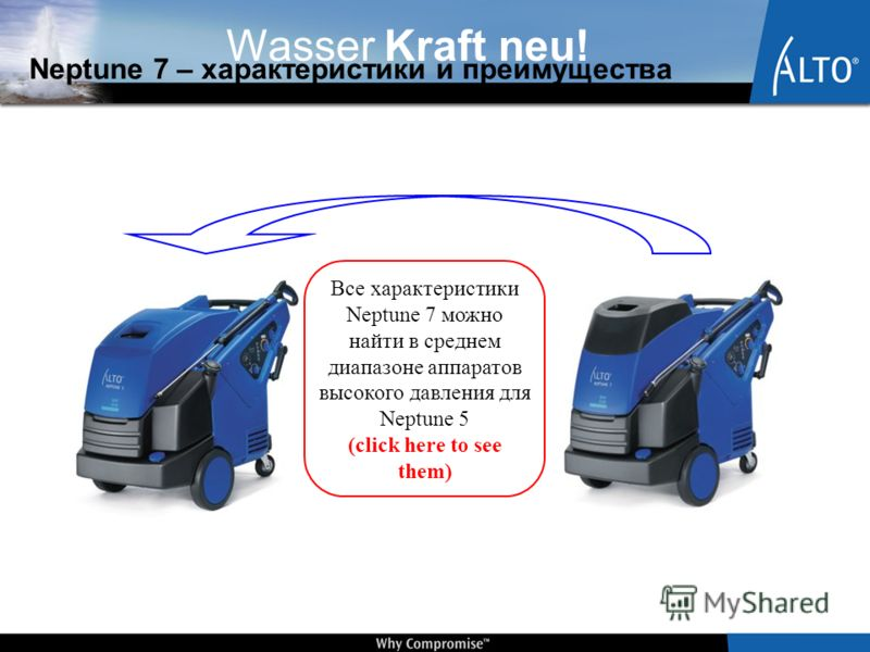 Wasser Kraft neu! Neptune 7 – характеристики и преимущества Все характеристики Neptune 7 можно найти в среднем диапазоне аппаратов высокого давления для Neptune 5 (click here to see them)