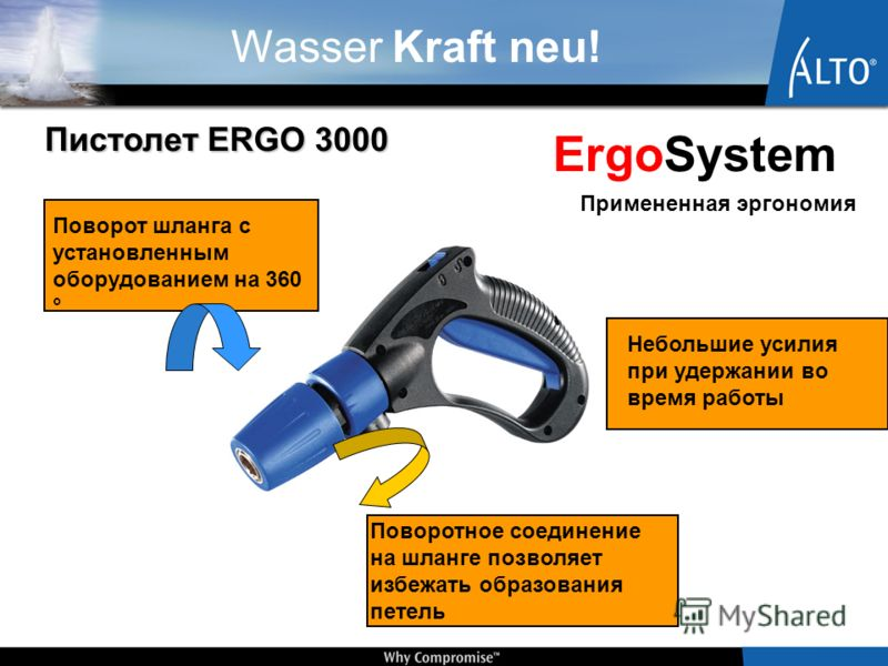 Wasser Kraft neu! Пистолет ERGO 3000 Поворот шланга с установленным оборудованием на 360 ° Поворотное соединение на шланге позволяет избежать образования петель Небольшие усилия при удержании во время работы ErgoSystem Примененная эргономия