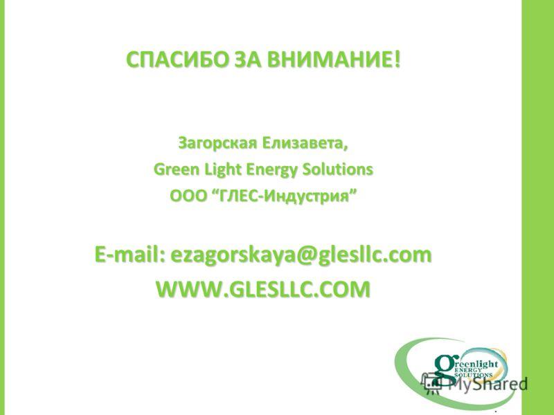 СПАСИБО ЗА ВНИМАНИЕ! Загорская Елизавета, Green Light Energy Solutions ООО ГЛЕС-Индустрия E-mail: ezagorskaya@glesllc.com WWW.GLESLLC.COM