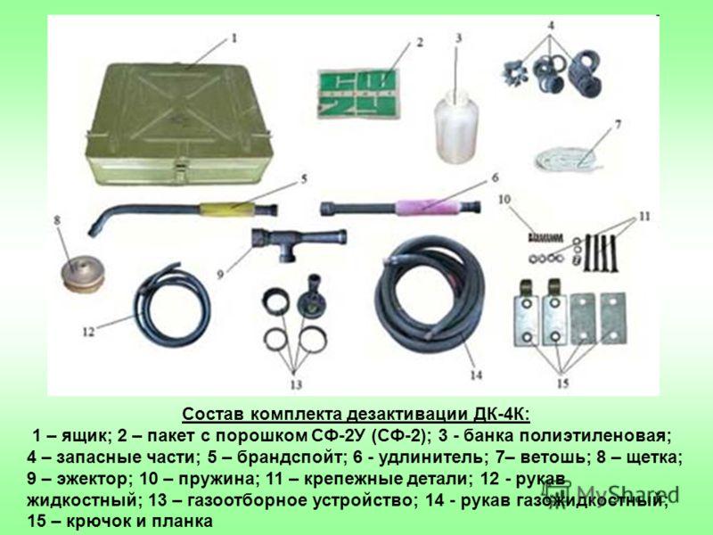 Состав комплекта дезактивации ДК-4К: 1 – ящик; 2 – пакет с порошком СФ-2У (СФ-2); 3 - банка полиэтиленовая; 4 – запасные части; 5 – брандспойт; 6 - удлинитель; 7– ветошь; 8 – щетка; 9 – эжектор; 10 – пружина; 11 – крепежные детали; 12 - рукав жидкост