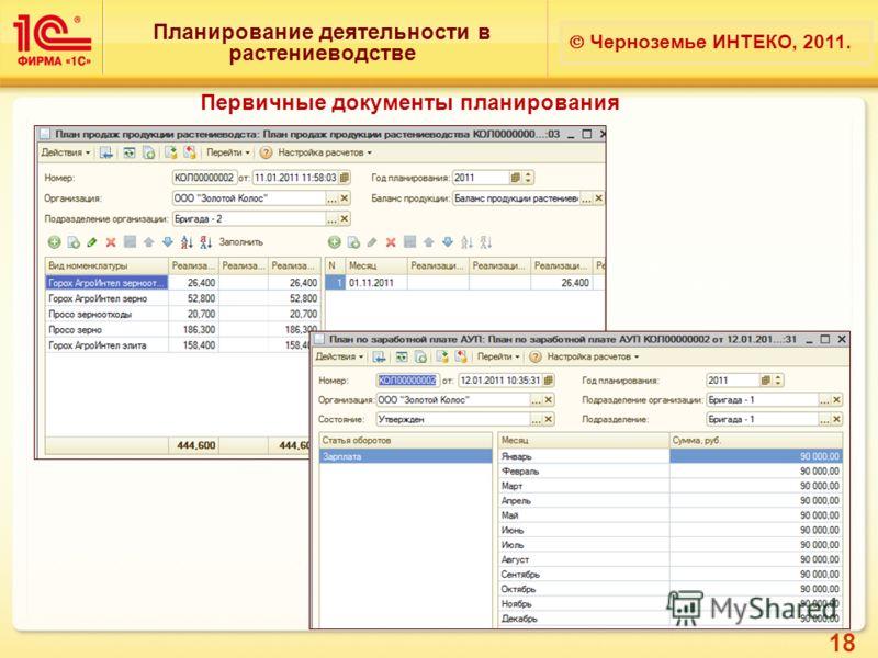 18 Планирование деятельности в растениеводстве Черноземье ИНТЕКО, 2011. Первичные документы планирования