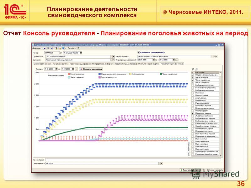 36 Планирование деятельности свиноводческого комплекса Черноземье ИНТЕКО, 2011. Отчет Консоль руководителя - Планирование поголовья животных на период