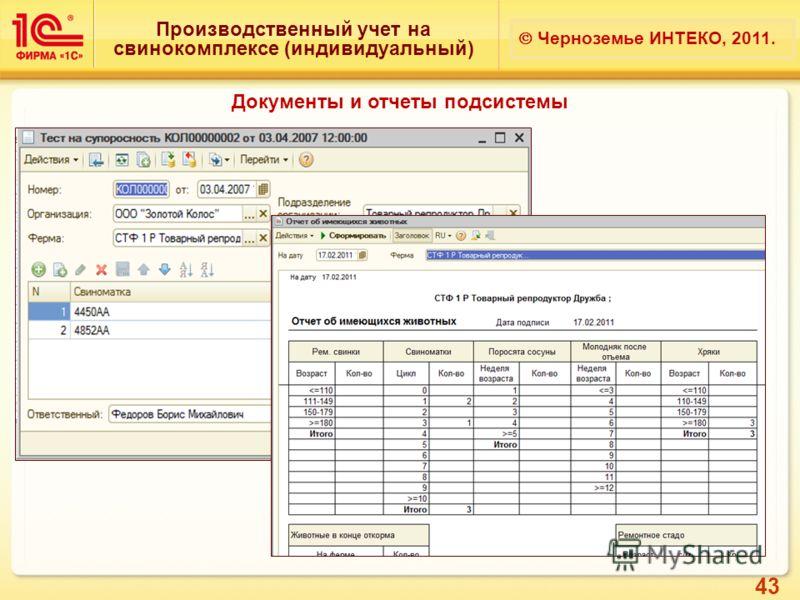 43 Производственный учет на свинокомплексе (индивидуальный) Черноземье ИНТЕКО, 2011. Документы и отчеты подсистемы