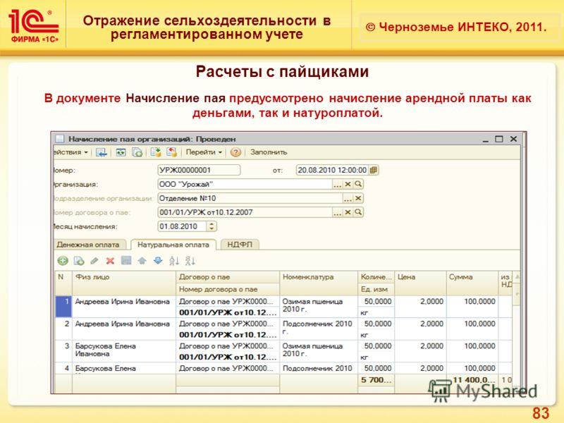 83 Отражение сельхоздеятельности в регламентированном учете Черноземье ИНТЕКО, 2011. Расчеты с пайщиками В документе Начисление пая предусмотрено начисление арендной платы как деньгами, так и натуроплатой.
