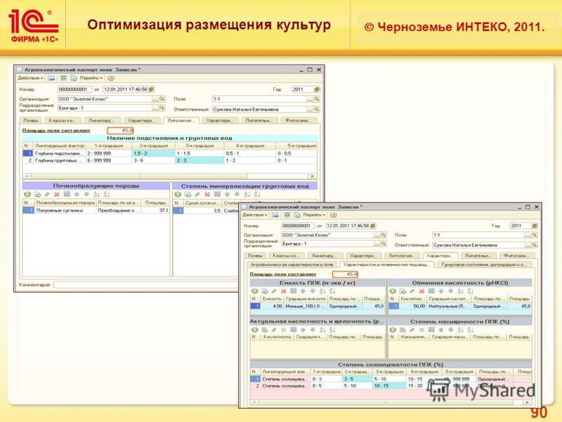 90 Оптимизация размещения культур Черноземье ИНТЕКО, 2011.