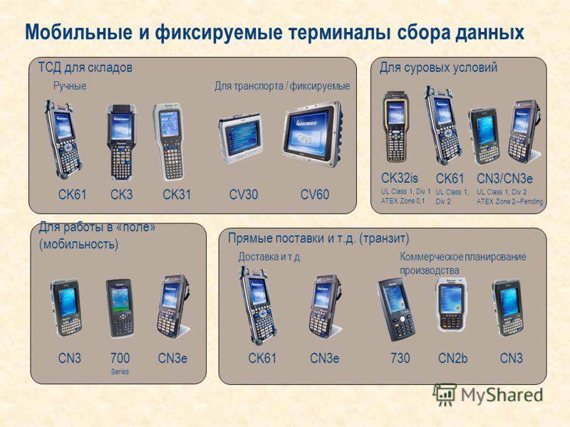 Прямые поставки и т.д. (транзит) Для работы в «поле» (мобильность) Для суровых условийТСД для складов Мобильные и фиксируемые терминалы сбора данных CV30CV60 CK32is UL Class 1, Div 1 ATEX Zone 0,1 CK61 UL Class 1, Div 2 CN3/CN3e UL Class 1, Div 2 ATE