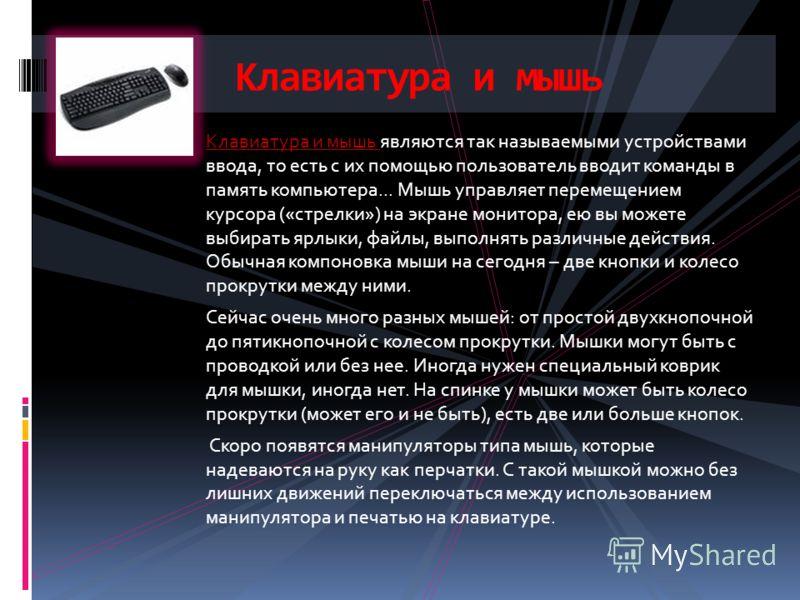 Клавиатура и мышь являются так называемыми устройствами ввода, то есть с их помощью пользователь вводит команды в память компьютера... Мышь управляет перемещением курсора («стрелки») на экране монитора, ею вы можете выбирать ярлыки, файлы, выполнять