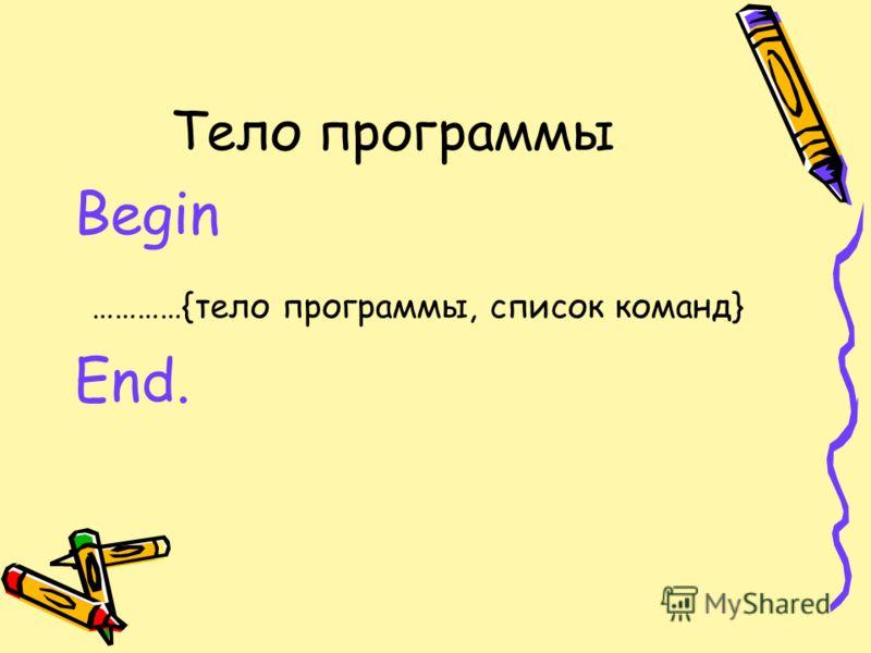 Тело программы Begin …………{тело программы, список команд} End.