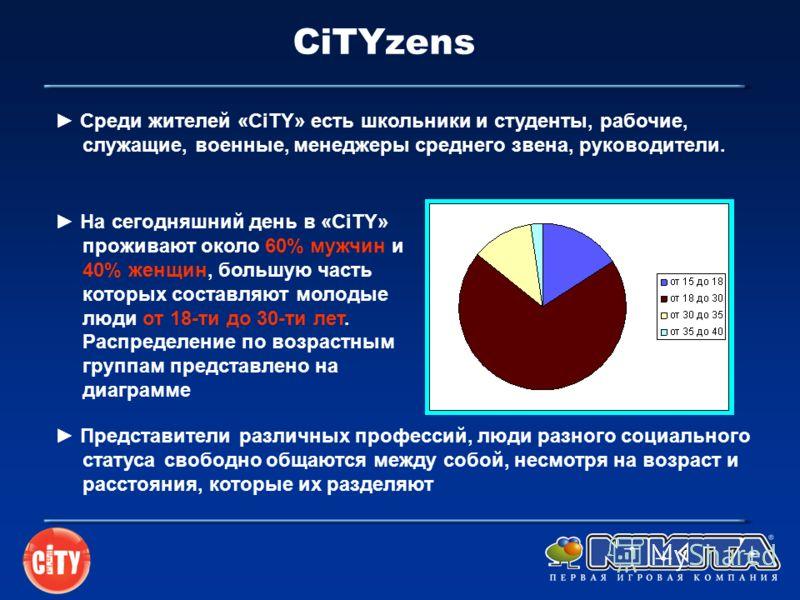CiTYzens Представители различных профессий, люди разного социального статуса свободно общаются между собой, несмотря на возраст и расстояния, которые их разделяют На сегодняшний день в «CiTY» проживают около 60% мужчин и 40% женщин, большую часть кот