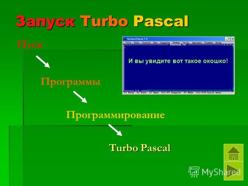 Запуск Turbo Pascal Пуск Программы Программирование Turbo Pascal И вы увидите вот такое окошко!