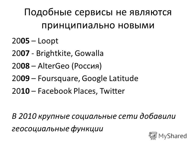 Подобные сервисы не являются принципиально новыми 2005 – Loopt 2007 - Brightkite, Gowalla 2008 – AlterGeo (Россия) 2009 – Foursquare, Google Latitude 2010 – Facebook Places, Twitter В 2010 крупные социальные сети добавили геосоциальные функции