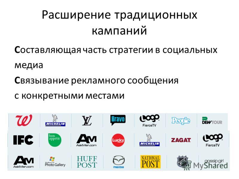 Расширение традиционных кампаний Составляющая часть стратегии в социальных медиа Связывание рекламного сообщения с конкретными местами