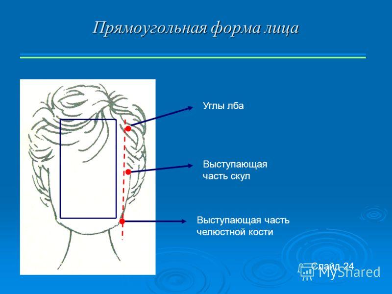 Прямоугольная форма лица Углы лба Выступающая часть скул Выступающая часть челюстной кости Слайд 24