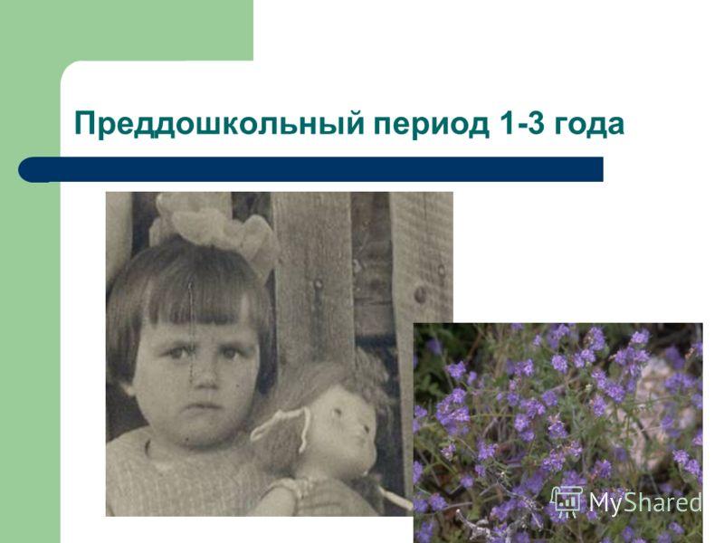 Преддошкольный период 1-3 года