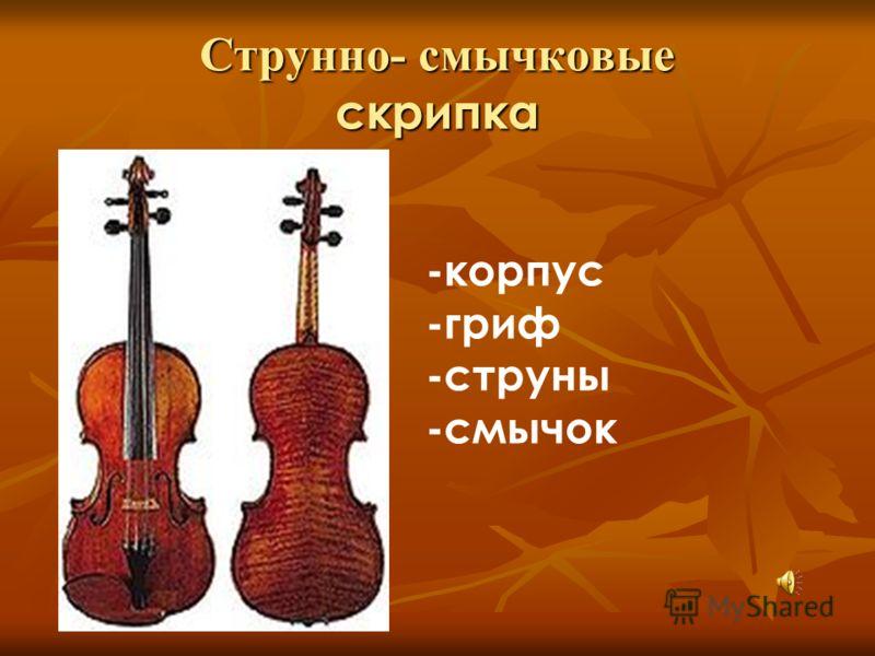 Струнно- смычковые скрипка -корпус -гриф -струны -смычок