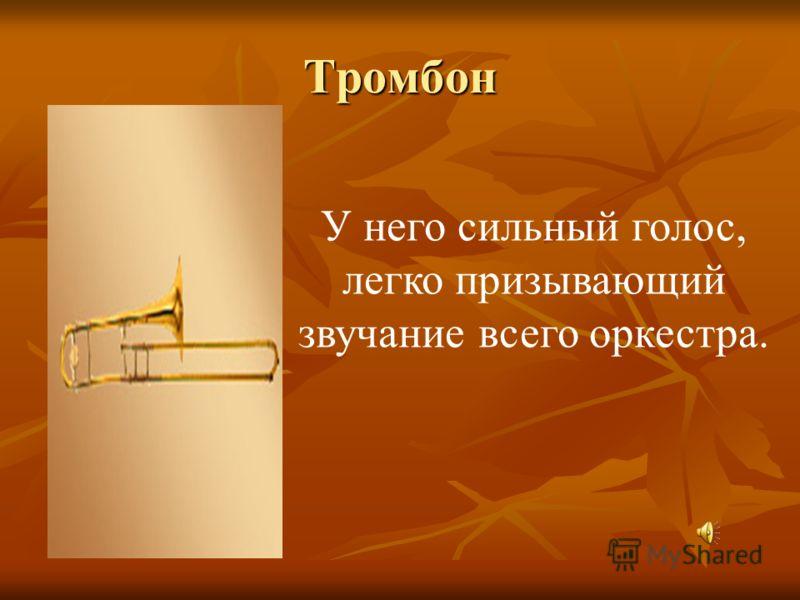Тромбон У него сильный голос, легко призывающий звучание всего оркестра.