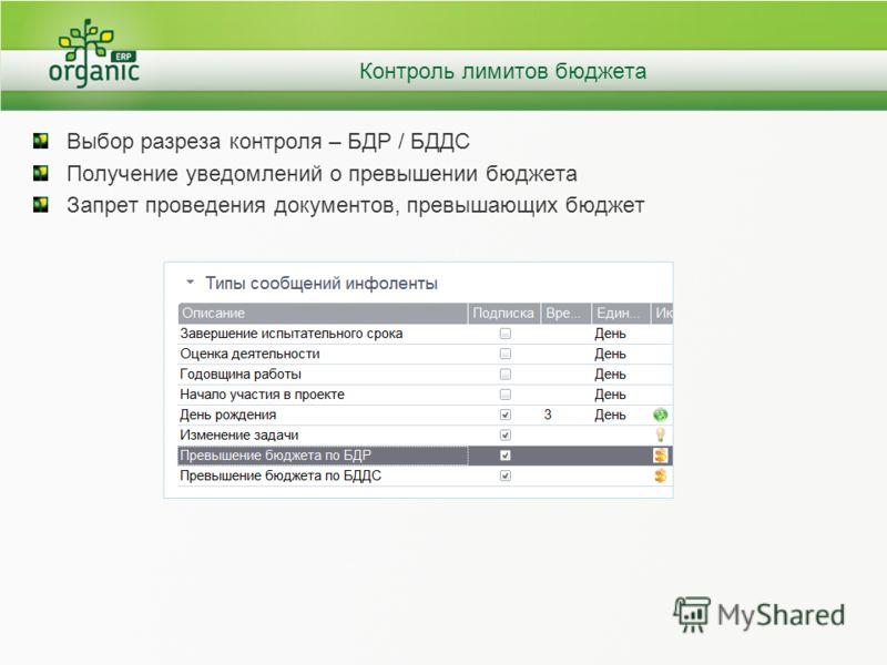 Контроль лимитов бюджета Выбор разреза контроля – БДР / БДДС Получение уведомлений о превышении бюджета Запрет проведения документов, превышающих бюджет