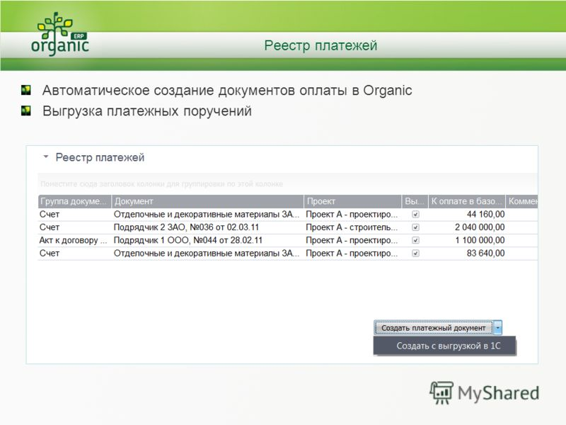 Реестр платежей Автоматическое создание документов оплаты в Organic Выгрузка платежных поручений