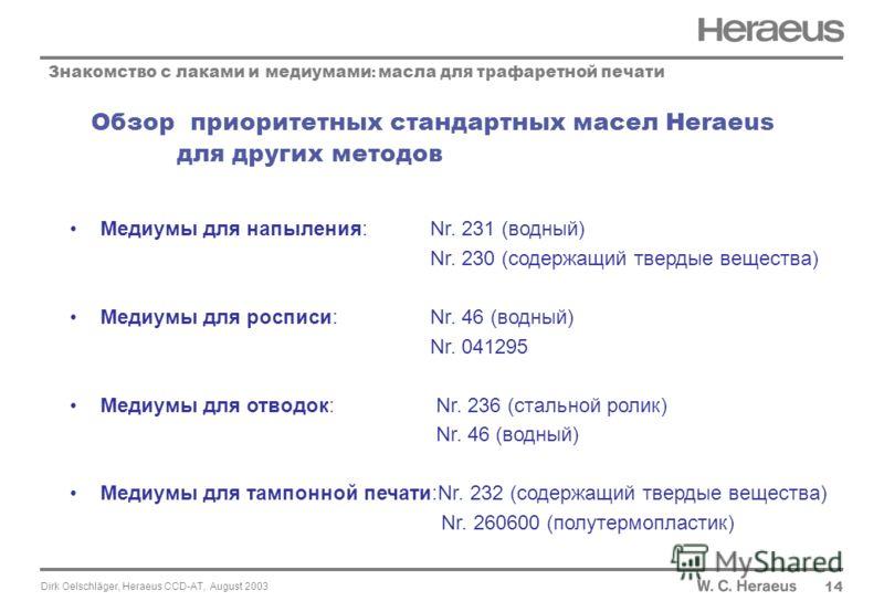 Dirk Oelschläger, Heraeus CCD-AT, August 2003 Обзор приоритетных стандартных масел Heraeus для других методов 14 Знакомство с лаками и медиумами : масла для трафаретной печати Медиумы для напыления: Nr. 231 (водный) Nr. 230 (содержащий твердые вещест