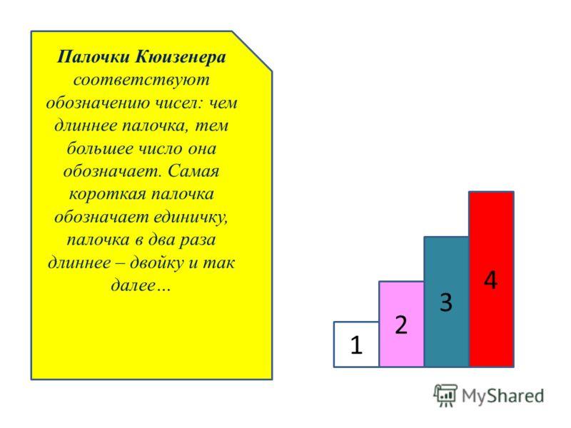 Палочки Кюизенера соответствуют обозначению чисел: чем длиннее палочка, тем большее число она обозначает. Самая короткая палочка обозначает единичку, палочка в два раза длиннее – двойку и так далее… 1 2 3 4