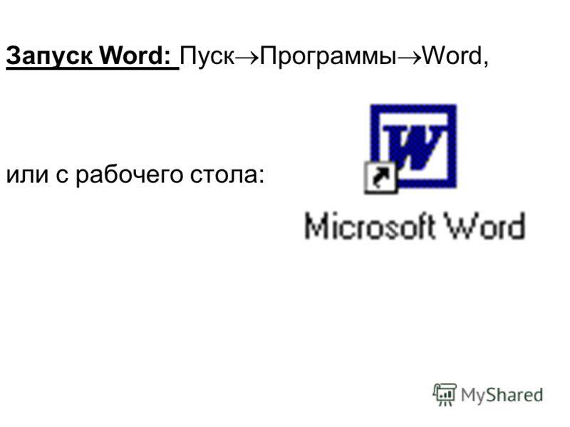 Запуск Word: Пуск Программы Word, или с рабочего стола: