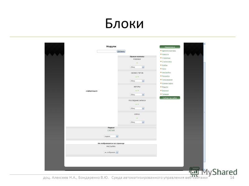 Блоки 14доц. Алексеев Н.А., Бондаренко В.Ю. Среда автоматизированного управления веб-сайтами